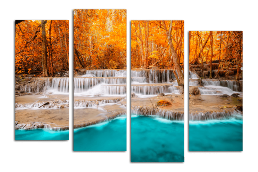 Модульная картина Осенний водопад